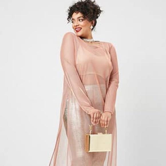 Plus Size Sheer Iridescent Maxi Dress Rose Gold NWT